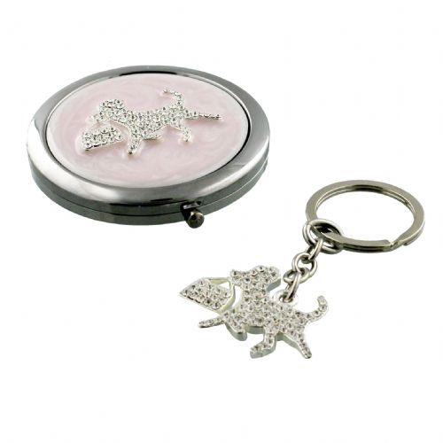 Diamante Dog Compact Mirror and Keyring Gift Set For Ladies - Christmas Table Gifts and Stocking Fillers
